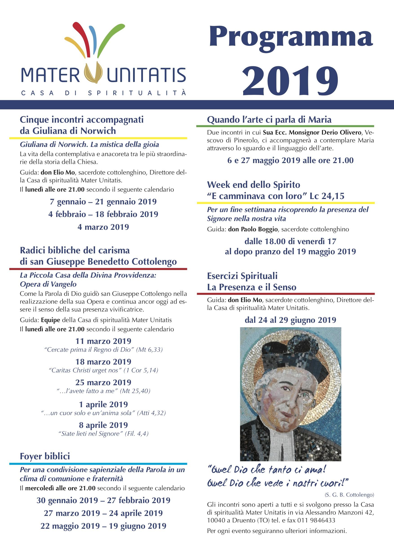 Parole Di Vita Calendario 2019.Cottolengo Casa Di Spiritualita Mater Unitatis